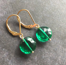 Load image into Gallery viewer, Emerald Coin Dangle Earrings, metal choices