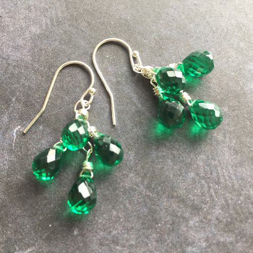 Emerald Petite Cluster Earrings