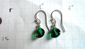 Teeny Emerald Green Earrings - Sterling or Gold Available