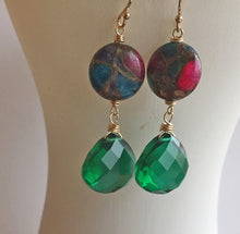 Load image into Gallery viewer, Emerald Inlay Earrings, OOAK