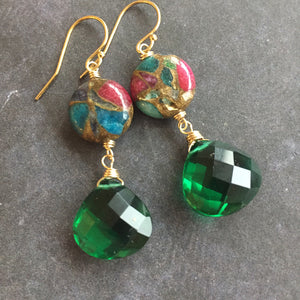 Emerald Inlay Earrings, OOAK