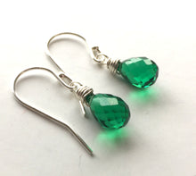 Load image into Gallery viewer, Bright Emerald Green Teardrop Teenie Earrings- Metal choices