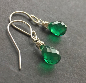 Bright Emerald Green Teardrop Teenie Earrings- Metal choices