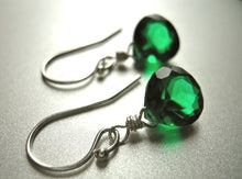 Load image into Gallery viewer, Teeny Emerald Green Earrings - Sterling or Gold Available