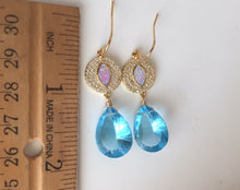 Load image into Gallery viewer, Opal Topaz Blue EVIL EYE Earrings- ONE OF A KIND