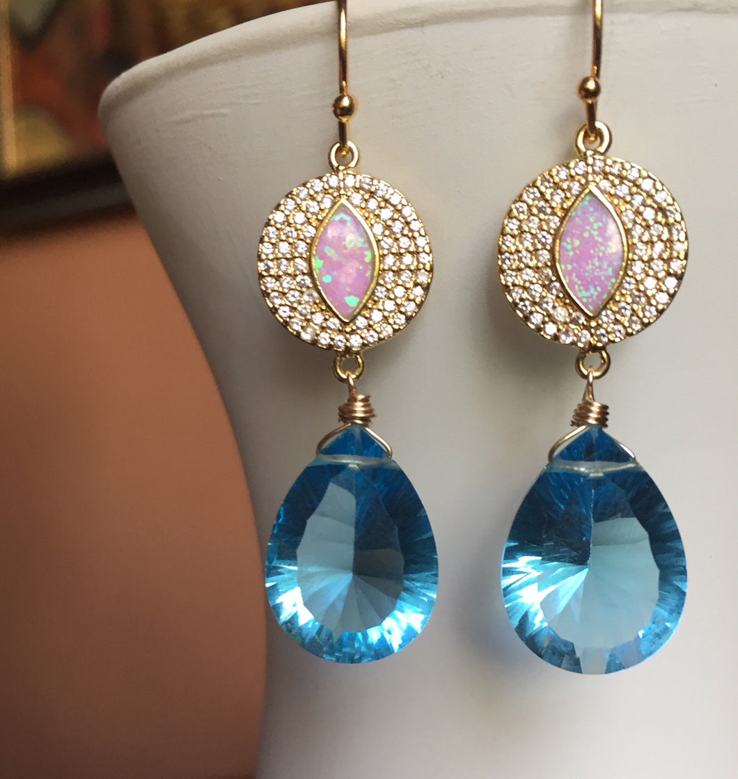 Opal Topaz Blue EVIL EYE Earrings- ONE OF A KIND