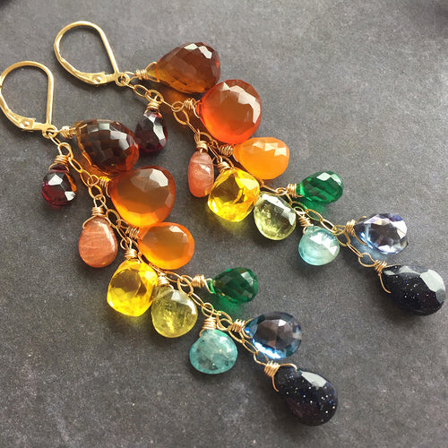 Falling for You leverback multi-gemstone earrings, OOAK