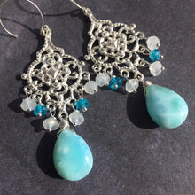 Load image into Gallery viewer, Larimar Filigree earrings