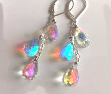 Load image into Gallery viewer, Fire Rainbow Moonstone Teardrop Dangles, metal choices