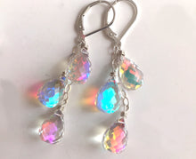 Load image into Gallery viewer, Fire Rainbow TRIO Moonstone Teardrop Dangles, Earwire and metal choices