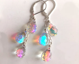 Fire Rainbow TRIO Moonstone Teardrop Dangles, Earwire and metal choices