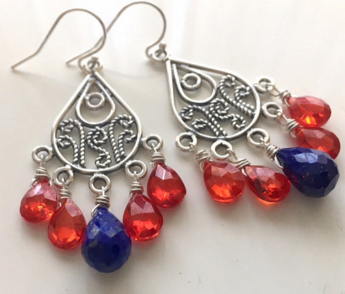 Fire Opal CZ and Lapis Lazuli Earrings, style RIO