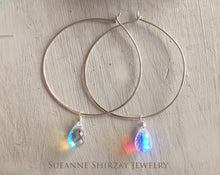 Load image into Gallery viewer, Fire Moonstone Hammered Hoop Earrings