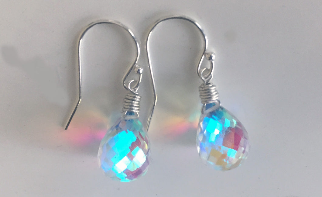 Fire Rainbow Moonstone Teardrop Dangles, metal choices