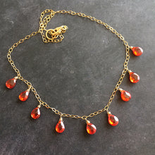 Load image into Gallery viewer, Fire Opal CZ Necklace, Gold filled