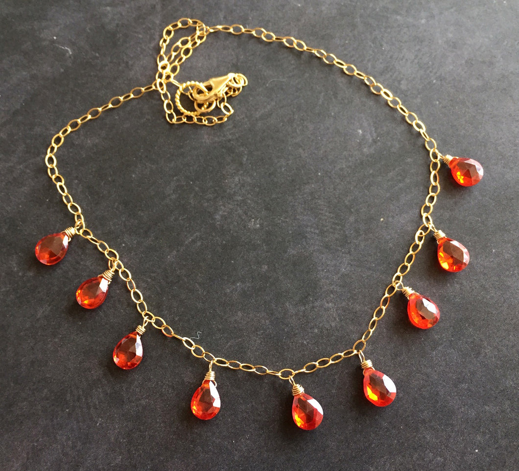 Fire Opal CZ Necklace, Gold filled