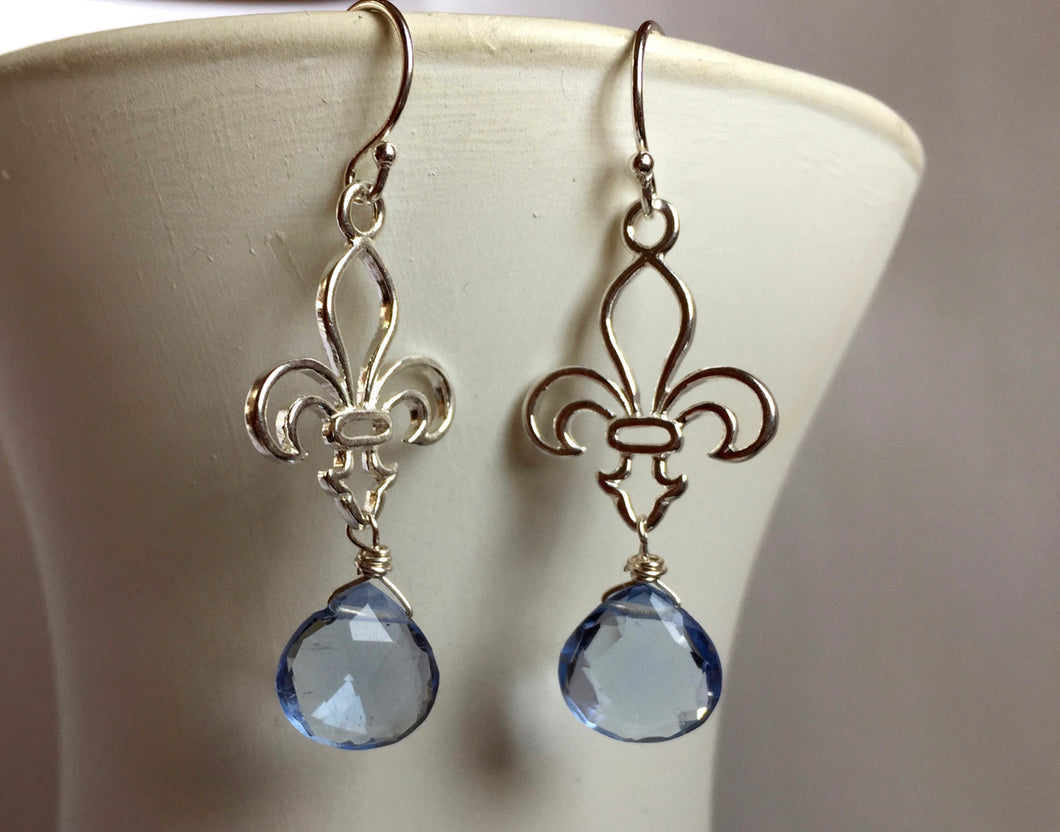 Fleur de Lis Earrings, Soft Blue