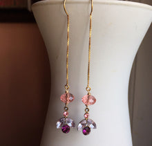 Load image into Gallery viewer, Modern Vintage Swarovski Crystal Threader Earrings, Petal, Gold Filled