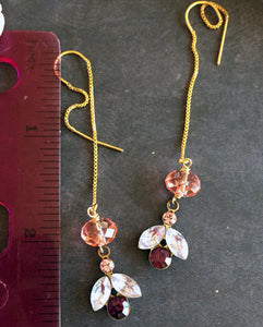 Modern Vintage Swarovski Crystal Threader Earrings, Petal, Gold Filled