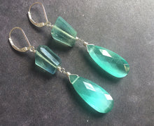 Load image into Gallery viewer, Fluorite and Cat's Eye Effect Quartz Dangles, OOAK #1