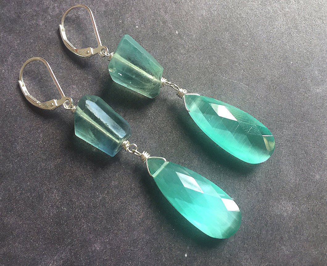 Fluorite and Cat's Eye Effect Quartz Dangles, OOAK #1