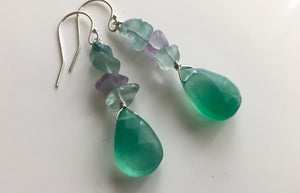 Green Onyx and Fluorite Nugget Earrings