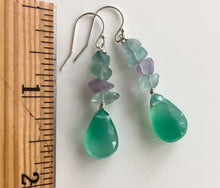 Load image into Gallery viewer, Green Onyx and Fluorite Nugget Earrings