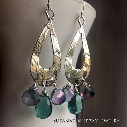 Bohemian Hoops with Sultry Fluorite and Mystic Quartz