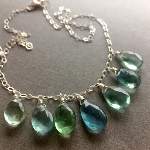 Fabulous Fluorite Watercolor Necklace  OOAK  no. 3