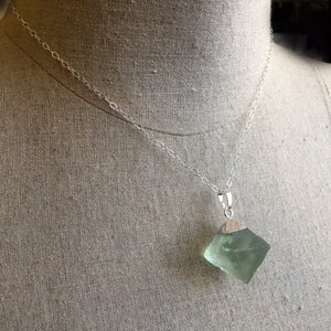 Fluorite Octahedron Necklace, OOAK