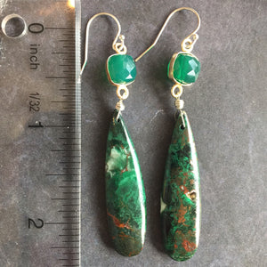 Forest Mist Picture Jasper Earrings, OOAK