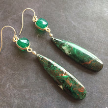 Load image into Gallery viewer, Forest Mist Picture Jasper Earrings, OOAK