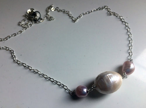 Baroque White and Pink Pearl Necklace, Sterling, Gold, or Rose Gold