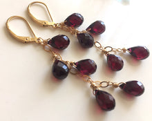 Load image into Gallery viewer, Rhodolite Garnet Cascade Earrings, Gold, Silver or Rose Gold