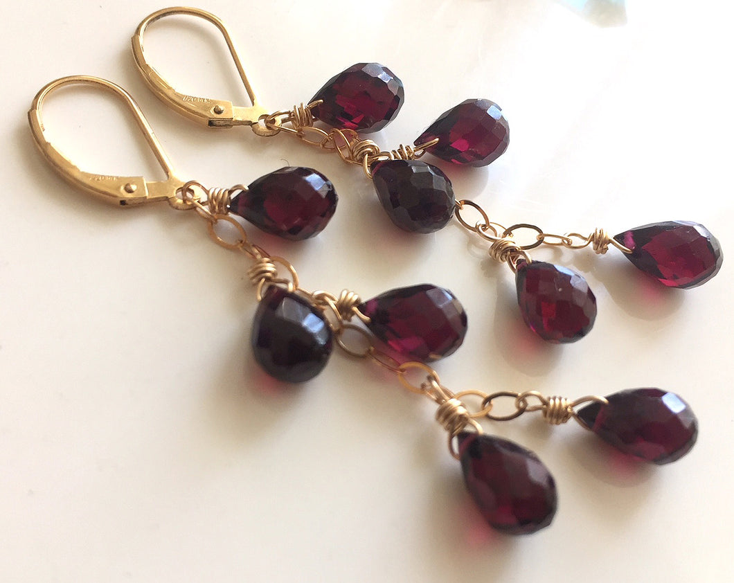 Rhodolite Garnet Cascade Earrings, Gold, Silver or Rose Gold
