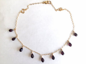 Garnet Necklace, Gold, Rose Gold or Silver