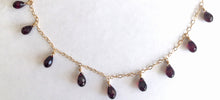 Load image into Gallery viewer, Rhodolite Garnet Necklace, teardrops