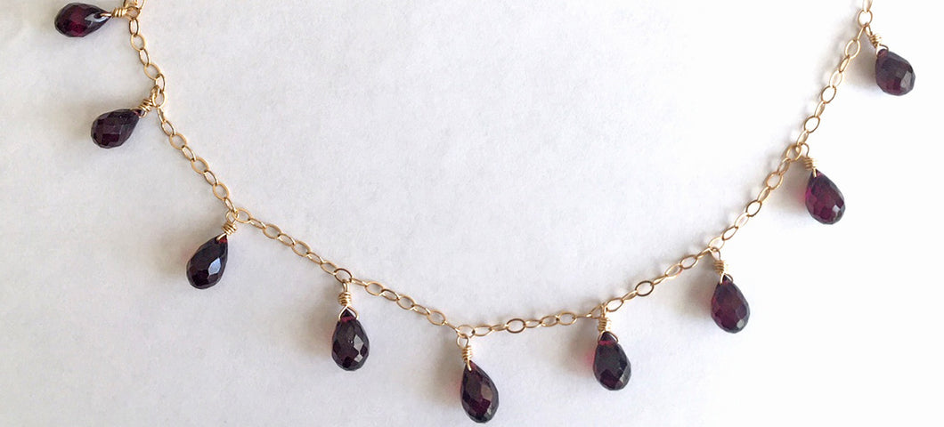 Rhodolite Garnet Necklace, teardrops
