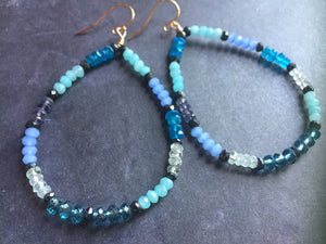 Gemmie Blues Hoop Earrings, metal choices