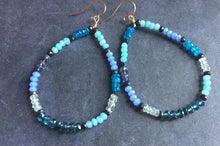 Load image into Gallery viewer, Gemmie Blues Hoop Earrings, metal choices