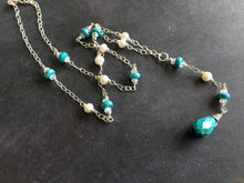 Load image into Gallery viewer, Gibson Girls Y Turquoise, Moonstone and Pearl Necklace