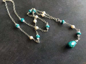Gibson Girls Y Turquoise, Moonstone and Pearl Necklace