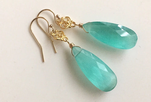 Cat's Eye Effect Gold Aqua Quartz Dangles, #1