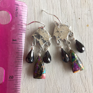 Goth Girl Multi-turquoise and Spinel Hammered Diamond Earrings