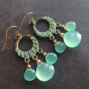 Grecian Shores Chalcedony Chandelier Earrings