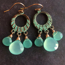 Load image into Gallery viewer, Grecian Shores Chalcedony Chandelier Earrings