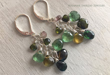 Load image into Gallery viewer, Absolutely fabulous Tourmaline Cluster Dangles, OOAK #1