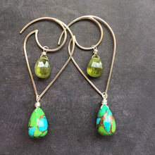 Load image into Gallery viewer, Moon and Wave GREEN Turquoise and Vessonite Garnet earrings