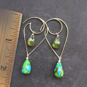 Moon and Wave GREEN Turquoise and Vessonite Garnet earrings