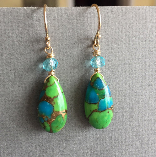 Copper Green and Blue Turquoise, similar to shown pair